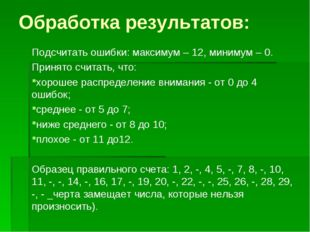 Обработка результатов: Подсчитать ошибки: максимум – 12, минимум – 0. Принято