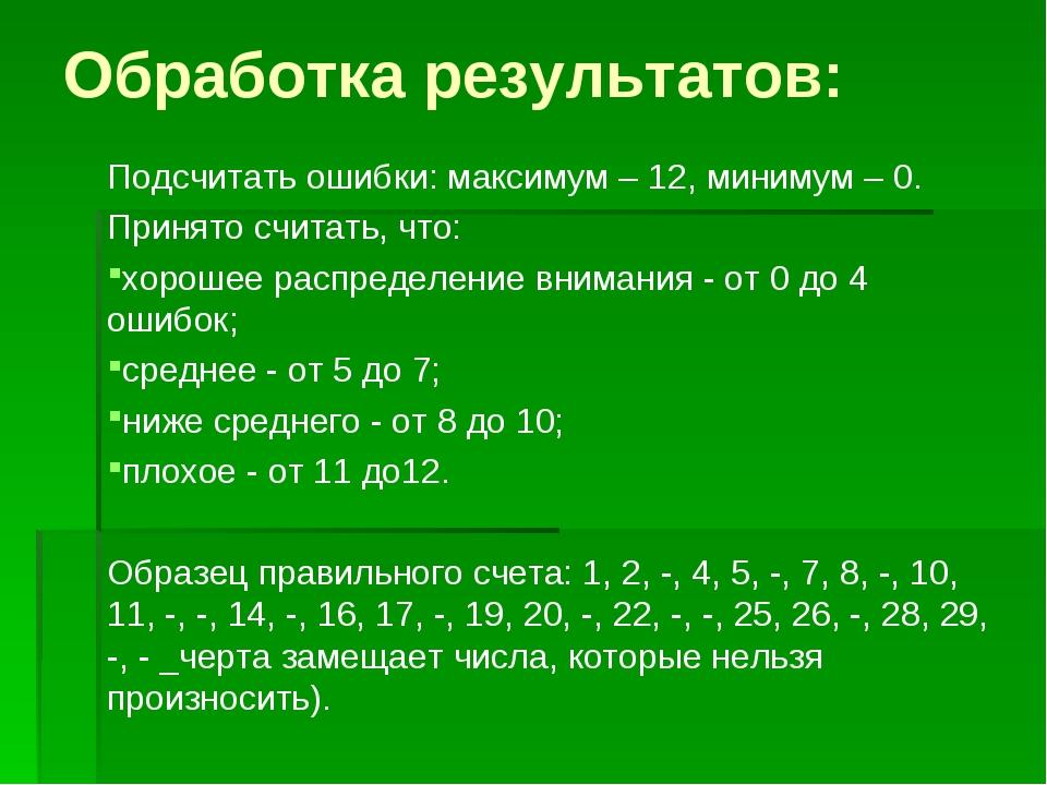Обработка результатов: Подсчитать ошибки: максимум – 12, минимум – 0. Принято...