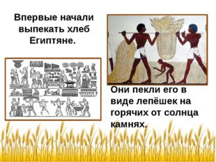 Впервые начали выпекать хлеб Египтяне. Они пекли его в виде лепёшек на горячи