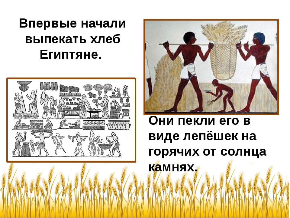 Впервые начали выпекать хлеб Египтяне. Они пекли его в виде лепёшек на горячи...