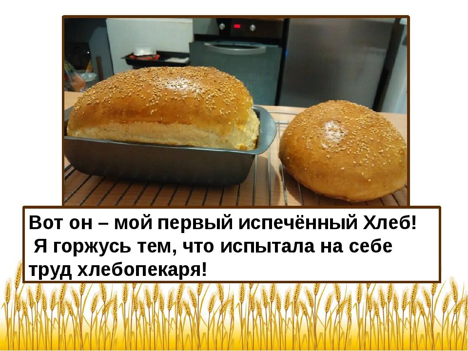 Вот он – мой первый испечённый Хлеб! Я горжусь тем, что испытала на себе труд...