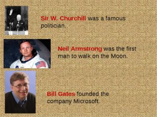 Sir W. Churchill was a famous politician. Neil Armstrong was the first man to