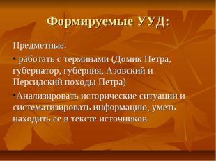 Формируемые УУД: Предметные: работать с терминами (Домик Петра, губернатор, г
