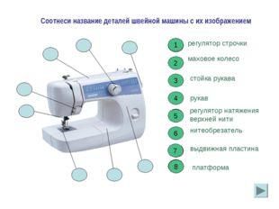 2 2 Соотнеси название деталей швейной машины с их изображением регулятор стро