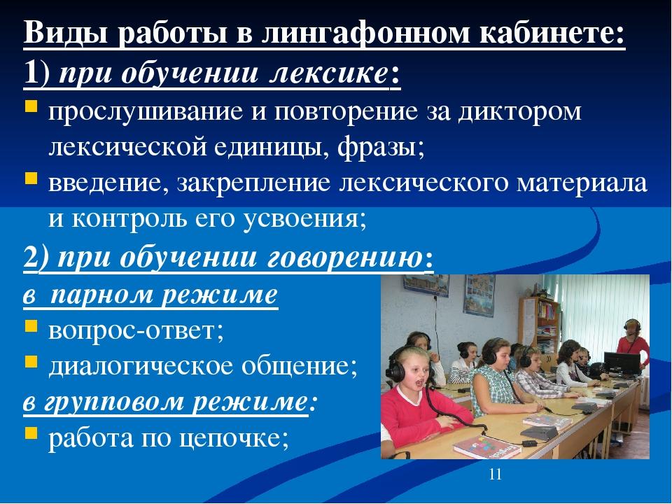 Виды работы в лингафонном кабинете: 1) при обучении лексике: прослушивание и...