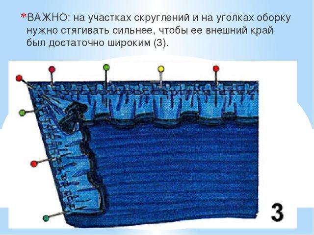 ВАЖНО: на участках скруглений и на уголках оборку нужно стягивать сильнее, чт...