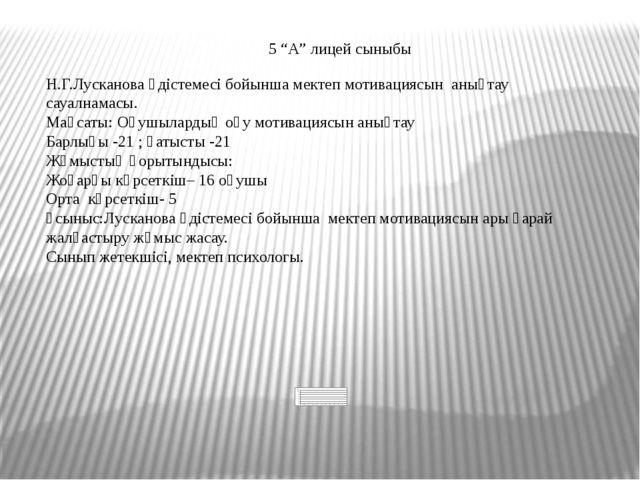 """5 """"А"""" лицей сыныбы Н.Г.Лусканова әдістемесі бойынша мектеп мотивациясын анықт..."""
