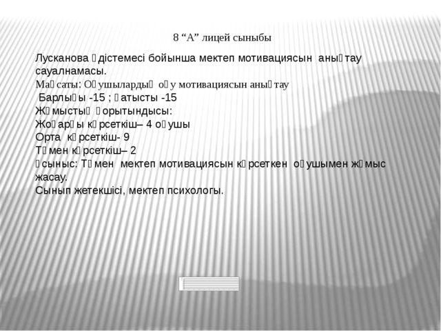"""8 """"А"""" лицей сыныбы Лусканова әдістемесі бойынша мектеп мотивациясын анықтау с..."""