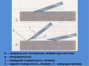 б – правильное положение лезвия при заточке; в – неправильное: 1 – передняя п