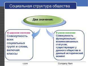 Социальная структура общества В широком значении Совокупность всех социальных