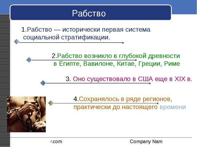 Рабство 1.Рабство — исторически первая система социальной стратификации. LOGO