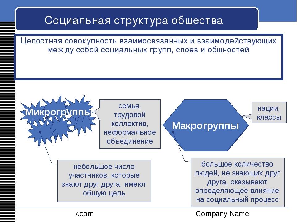 Социальная структура общества Целостная совокупность взаимосвязанных и взаимо...