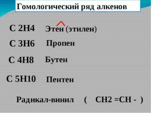 Гомологический ряд алкенов C 2H4 C 4H8 C 3H6 C 5H10 Этен (этилен) Пропен Буте