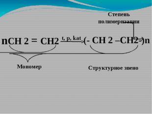 nСН 2 = СН2 t, p, kat (- СН 2 –CH2-)n Структурное звено Мономер Степень полим