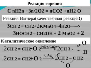 Реакция горения 3СН 2 = СН2+2KMnO4+4H2O 3HOCH2 – CH2OH + 2 MnO2 + 2 KOH C nH2