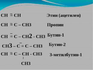 СН = СН СН = С – СН3 СН = С – СН2 - СН3 СН3 – С = С – СН3 СН = С – СН - СН3 С