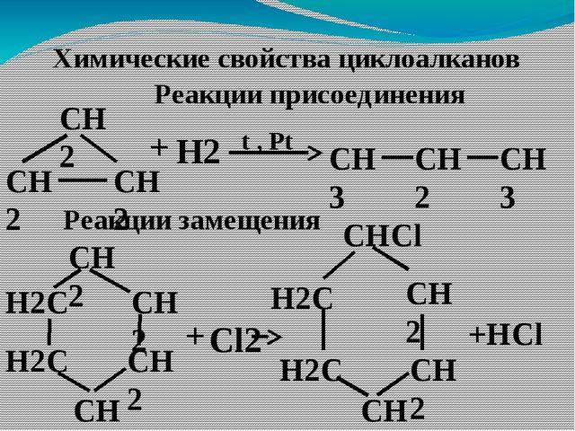 Химические свойства циклоалканов Реакции присоединения СН2 СН2 СН2 СН3 + Н2 t...