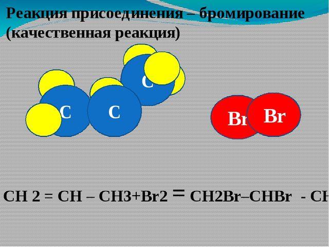 Br C C Реакция присоединения – бромирование (качественная реакция) C Br СН 2...