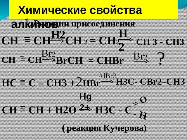 Химические свойства алкинов 1. Реакции присоединения СН = СН − Н2 СН 2 = СН2...