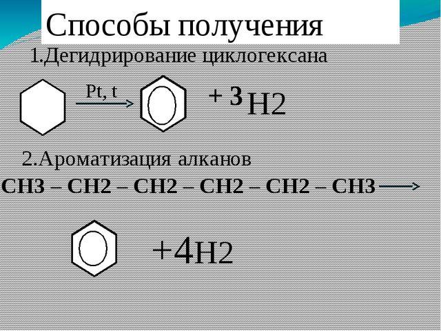 Способы получения 1.Дегидрирование циклогексана Pt, t H2 + 3 2.Ароматизация а...