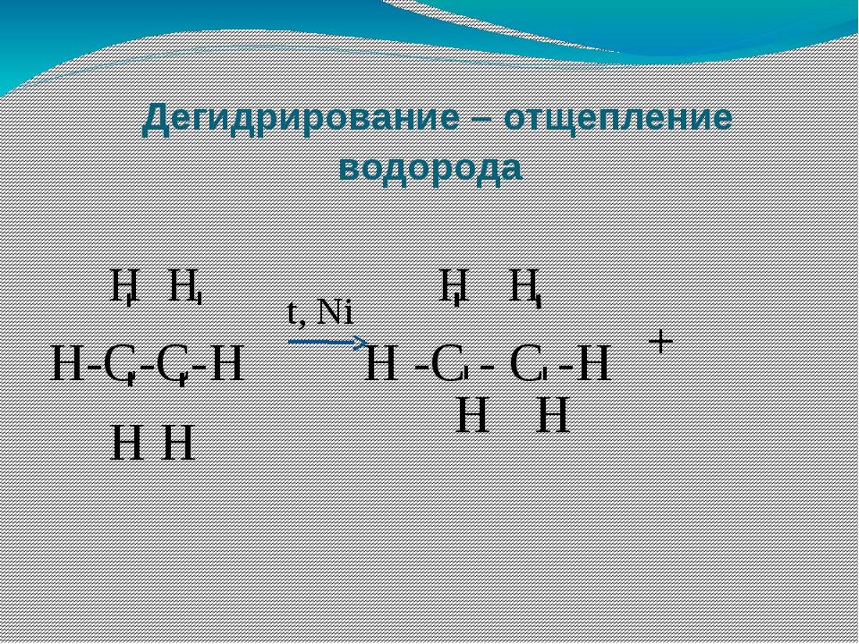Дегидрирование – отщепление водорода Н Н Н Н Н-С-С-Н Н -С - С -Н Н Н - - - -...