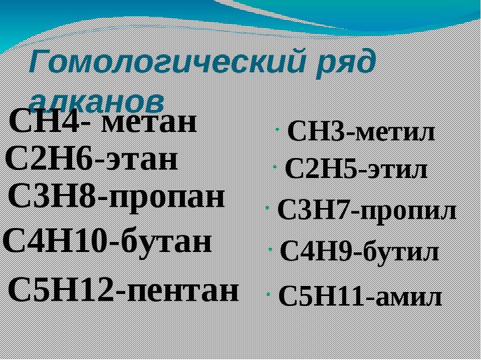 Гомологический ряд алканов CH4- метан C3H8-пропан C4H10-бутан C5H12-пентан CH...