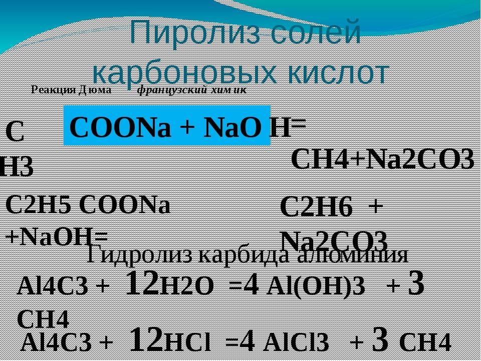 Пиролиз солей карбоновых кислот C Н3 COONa + NaO = CH4+Na2CO3 H C2H5 COONa +...