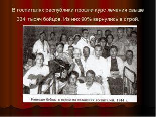 В госпиталях республики прошли курс лечения свыше 334 тысяч бойцов. Из них 90