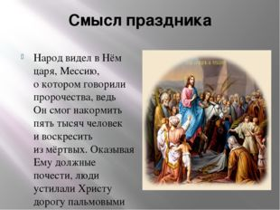 Смысл праздника Народ видел вНём царя, Мессию, окотором говорили пророчеств
