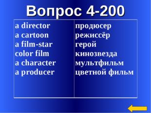 Вопрос 4-200 а director а cartoon а film-star color film а character а produc
