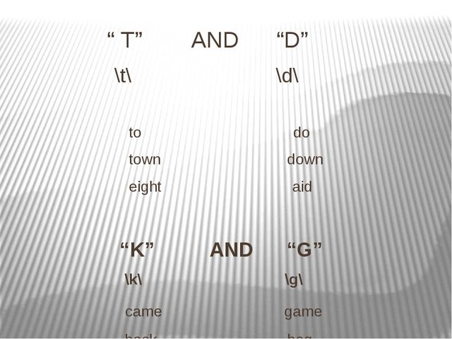 """"""" T"""" AND """"D"""" \t\ \d\ to do town down eight aid """"K"""" AND """"G"""" \k\ \g\ came game..."""
