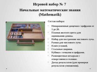 Игровой набор № 7 Начальные математические знания (Mathematik) Состав набора: