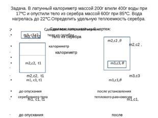 Задача. В латунный калориметр массой 200г влили 400г воды при 17°С и опустили