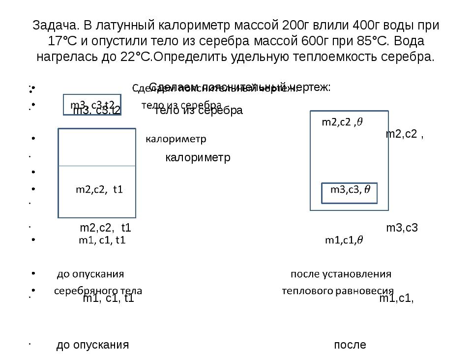 Задача. В латунный калориметр массой 200г влили 400г воды при 17°С и опустили...