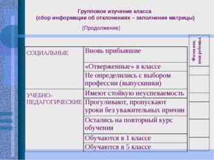 Групповое изучение класса (сбор информации об отклонениях – заполнение матриц
