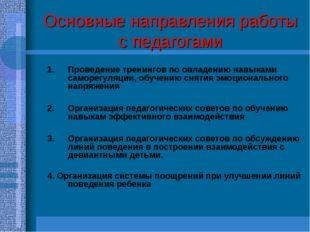 Основные направления работы с педагогами Проведение тренингов по овладению на