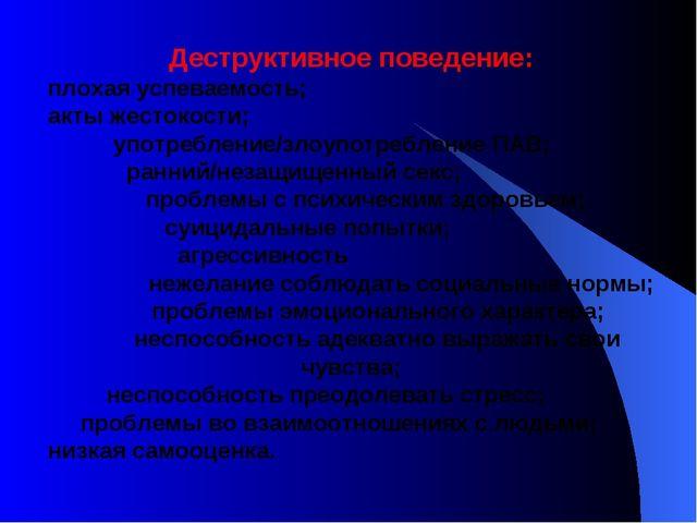 Деструктивное поведение: плохая успеваемость; акты жестокости; употребление/з...