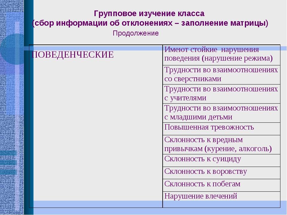 Групповое изучение класса (сбор информации об отклонениях – заполнение матриц...