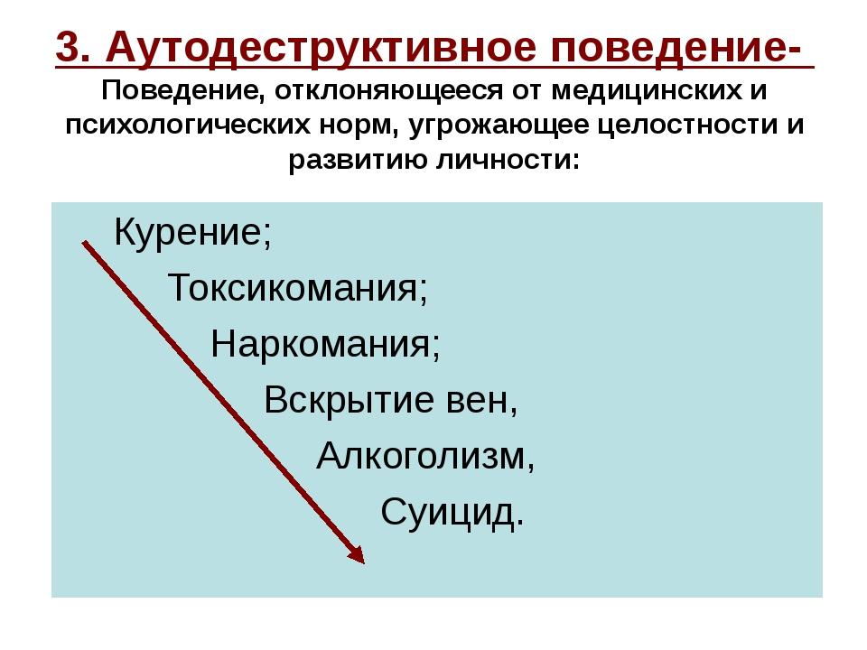 3. Аутодеструктивное поведение- Поведение, отклоняющееся от медицинских и пси...