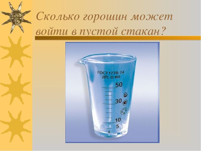 Сколько горошин может войти в пустой стакан?