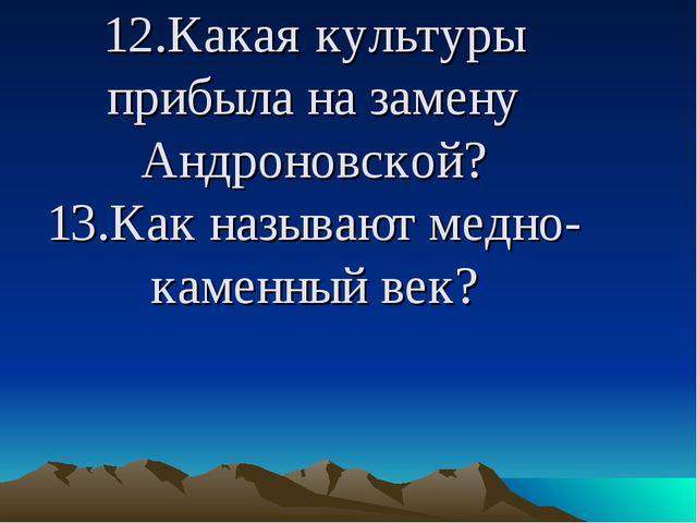 12.Какая культуры прибыла на замену Андроновской? 13.Как называют медно-каме...