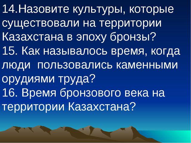 14.Назовите культуры, которые существовали на территории Казахстана в эпоху б...