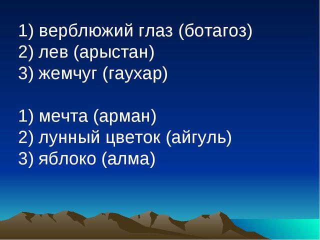 1) верблюжий глаз (ботагоз) 2) лев (арыстан) 3) жемчуг (гаухар) 1) мечта (ар...