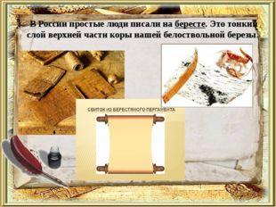 В России простые люди писали на бересте. Это тонкий слой верхней части коры