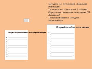 Методика Н.Г. Лускановой «Школьная мотивация» Тест школьной тревожности Г. Ай