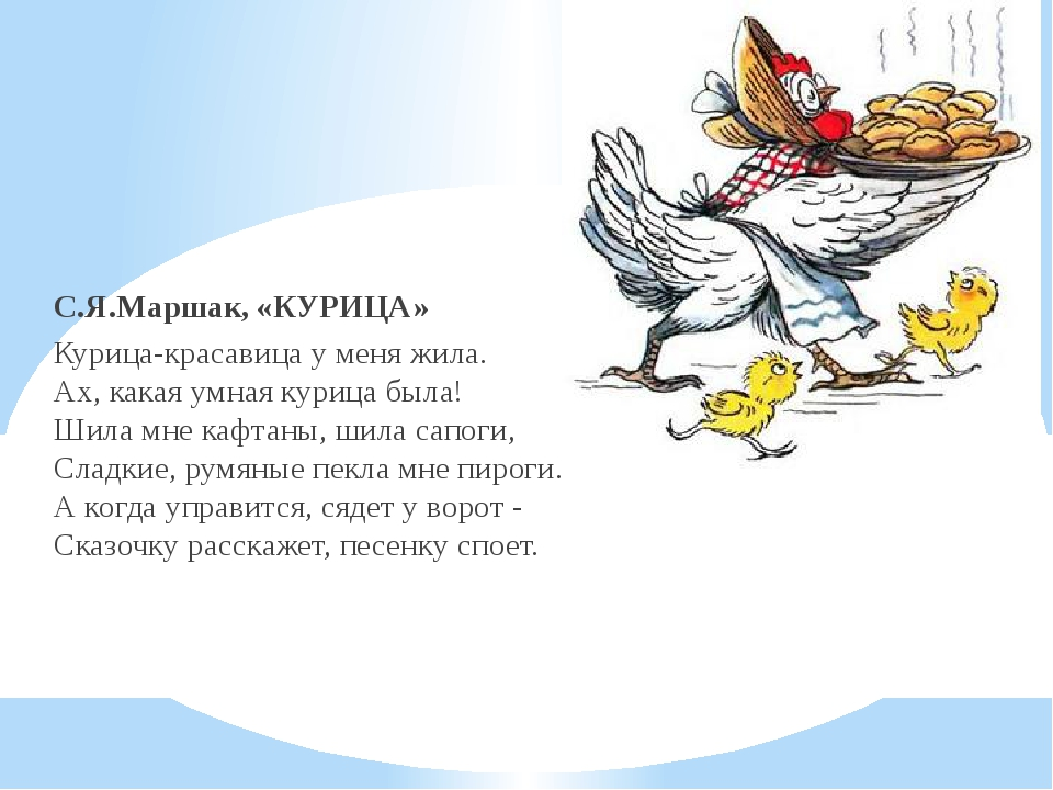 - С.Я.Маршак, «КУРИЦА» Курица-красавица у меня жила. Ах, какая умная курица...