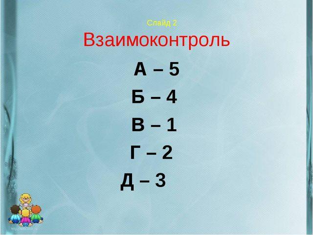 Слайд 2 Взаимоконтроль А – 5 Б – 4 В – 1 Г – 2 Д – 3