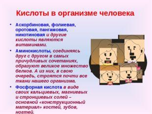 Кислоты в организме человека Аскорбиновая, фолиевая, оротовая, пангамовая, ни