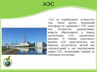 АЭС АЭС не вырабатывают углекислого газа, объем других загрязнений атмосферы
