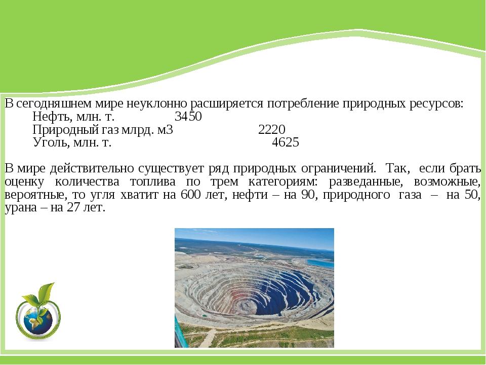 В сегодняшнем мире неуклонно расширяется потребление природных ресурсов: Нефт...